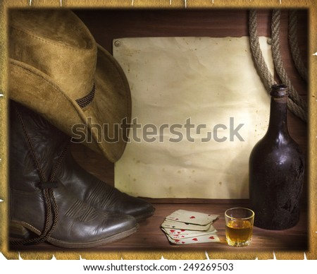 American west background with poker cards and cowboy elements.Old paper for text or design - stock photo