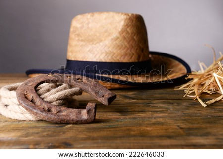American West still life with old horseshoe, hat and cowboy lasso, on grey background - stock photo