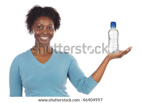 American woman with water?s bottle  isolated on a over white background - stock photo