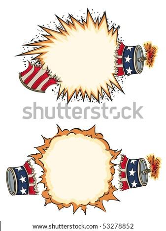 Americana Firecracker Starbursts - RASTER version - stock photo