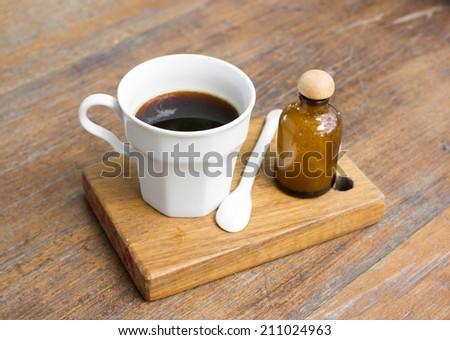 Americano black coffee in a white cup. - stock photo
