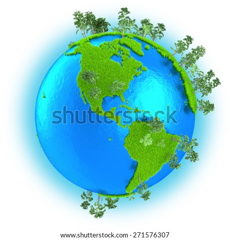 Americas on grassy planet Earth with trees isolated on white background - stock photo
