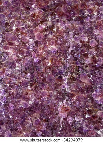 Amethyst carpet inside a druse - stock photo