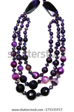 amethyst semigem beads isolated on white background - stock photo