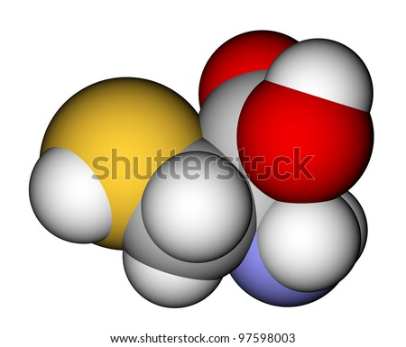 Amino acid cysteine 3D molecular model - stock photo