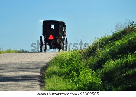 Amish buggy in eastern Ohio - stock photo