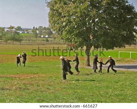 Amish Children - stock photo