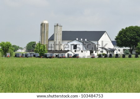 Amish gathering of buggies parked in front of a farm in Lancaster Pennsylvania - stock photo