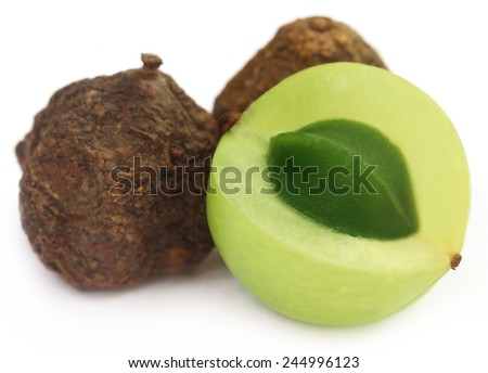 Amla fruits - dried and green over white background - stock photo
