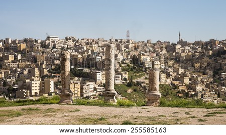 Amman city landmarks-- old roman Citadel Hill,  Jordan - stock photo