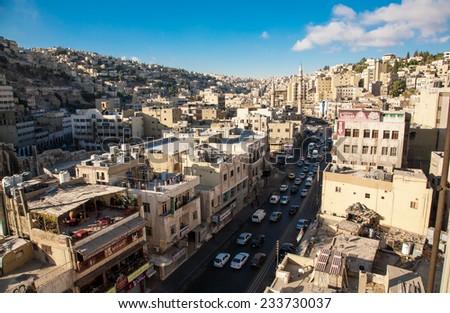 AMMAN, JORDAN - NOVEMBER 16, 2014: view of Amman's skyline, Jordan - stock photo