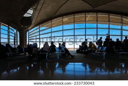 AMMAN, JORDAN, NOVEMBER 16 2013, Waiting room in Queen Alia International Airport. - stock photo