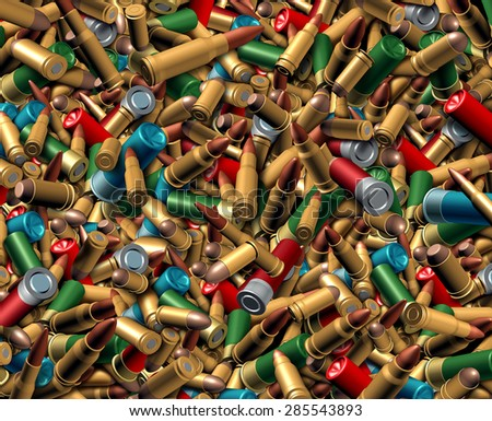 Ammunition bullets background as a dangerous explosives concept with a group of different calibre ammo representing the risk of violence and security social issues involving firearm weapons. - stock photo