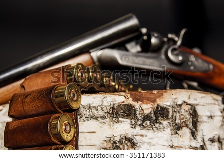 ammunitions and hunting rifle - stock photo