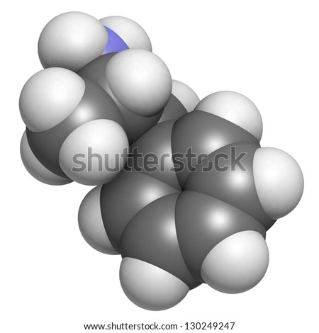 Amphetamine stimulant molecule, chemical structure. Atoms are represented as spheres with conventional color coding: hydrogen (white), carbon (grey), nitrogen (blue) - stock photo