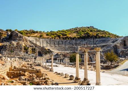 Amphitheater in ancient ephesus, turkey - stock photo