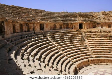 Amphitheater in the ancient Roman city, Jarash, Jordan - stock photo