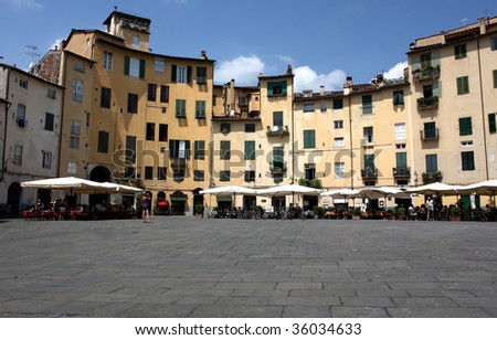 amphitheater square - Lucca (italy) - stock photo