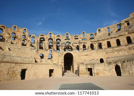 Amphitheatre. Roman biggest amphitheater in africa in El Djam, Tunisia - stock photo