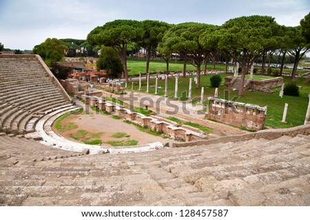 Amphitheatre steps and mausoleum in Ostia antica - Rome - Italy - stock photo