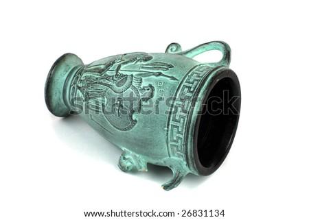 Amphora isolated on white. - stock photo