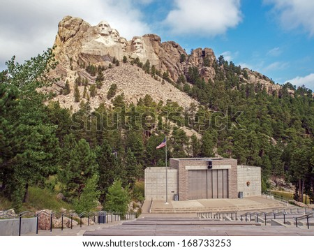 Ampitheater at Mt. Rushmore National Monument, Keystone, South Dakota - stock photo