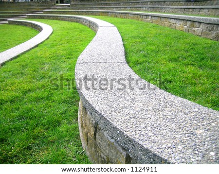 Ampitheater  Description: Terraced step seating in the ampitheater at Causland Memorial Park, Anacortes, Washington state - stock photo
