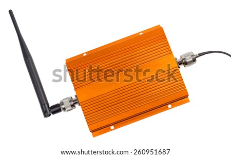 Amplifying signal repeater for GSM cellular phone with antennas mounted isolated on white background - stock photo