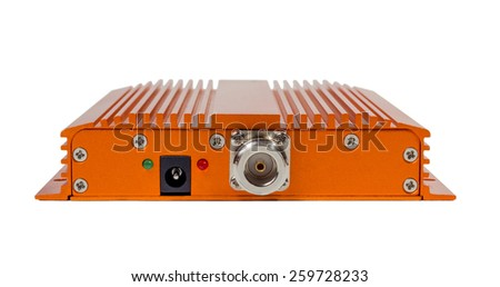 Amplifying signal repeater for GSM cellular phone without antennas isolated on white background - stock photo
