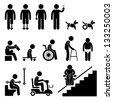 Amputee Handicap Disable People Man Tool Equipment Stick Figure Pictogram Icon - stock photo