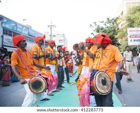 AMRAVATI,MAHARASHTRA, INDIA - OCT 22 : Unidentified Devotee on the occasion of the Hindu festival Dassera. they participate in Hindu religious procession. Amravati, Maharashtra,India, 22 October 2015 - stock photo