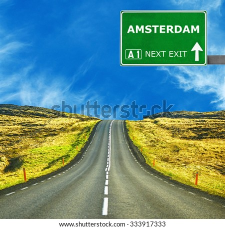 AMSTERDAM against clear blue sky - stock photo