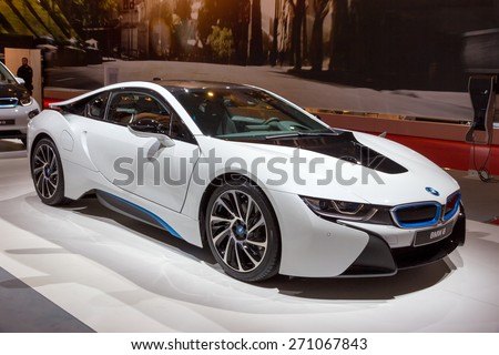 AMSTERDAM - APRIL 16, 2015: BMW i8 plug-in hybrid sports car at the AutoRAI 2015. - stock photo