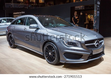 AMSTERDAM - APRIL 16, 2015: Mercedes-Benz CLA-Class car at the AutoRAI 2015. The CLA was launched in January 2013. - stock photo