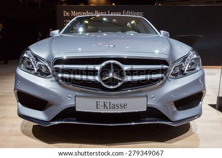 AMSTERDAM - APRIL 16, 2015: Mercedes-Benz E-Class car at the AutoRAI 2015. E-class is a range of executive cars manufactured by Mercedes-Benz in various configurations produced since 1993. - stock photo