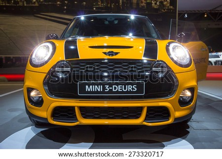 AMSTERDAM - APRIL 16, 2015: Three door Mini Cooper at the AutoRAI 2015. - stock photo