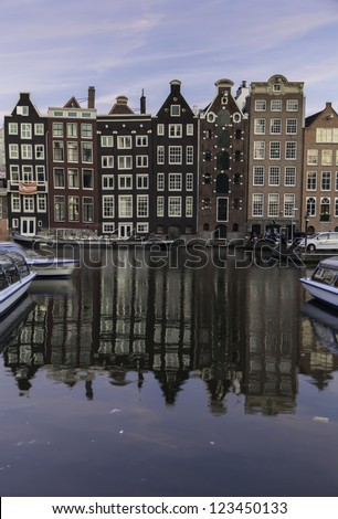 Amsterdam buildings late afternoon - stock photo