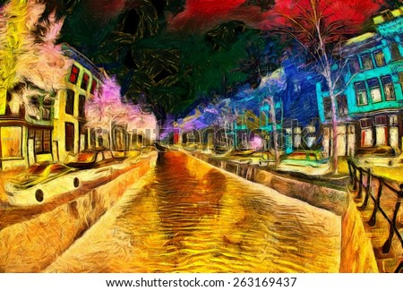 Amsterdam Canal at dreamy night psychedelic painting - stock photo