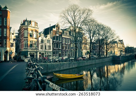 Amsterdam Canal Street view. Horizontal filtered shot - stock photo