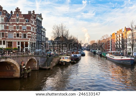 Amsterdam Canal Street view. Horizontal shot - stock photo