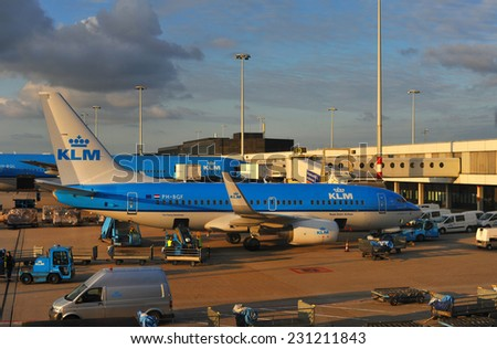 AMSTERDAM KLM planes at Schiphol Airport May 18, 2014 in Amsterdam, The Netherlands. - stock photo