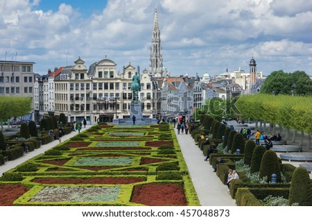 AMSTERDAM, NETHERLANDS - APRIL 30, 2015: Panoramic views of the city park - stock photo