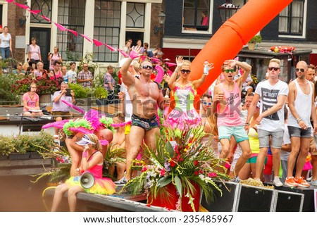 Amsterdam, Netherlands - August 2, 2014: annual event for the protection of human rights and civil equality -  Gay Pride. - stock photo