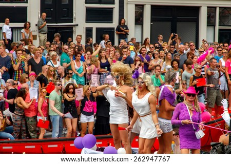 Amsterdam, Netherlands - August 2, 2014:  participants in the annual event for the protection of human rights and civil equality. Gay Pride 2014. - stock photo