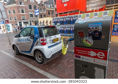 AMSTERDAM, NETHERLANDS - JULY 29, 2015: The Smart Fortwo electric drive, or smart ed, is a battery electric vehicle variant of the Smart Fortwo city car, formerly marketed as the Smart Fortwo EV. - stock photo