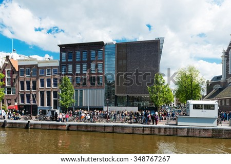 AMSTERDAM, NETHERLANDS - JUNE 01, 2015: : Anne Frank house and holocaust museum in Amsterdam, the Netherlands. Anne Frank house is a popular tourist destination - stock photo