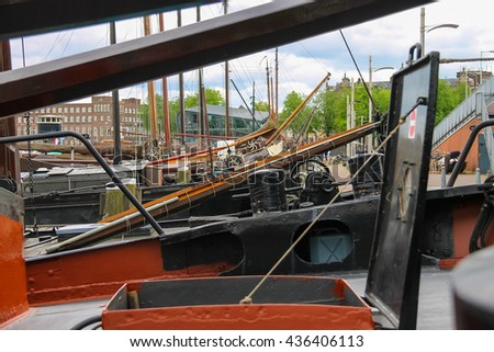 Amsterdam, Netherlands - June 20, 2015: Ships - exhibits the Netherlands Maritime Museum in Amsterdam - stock photo