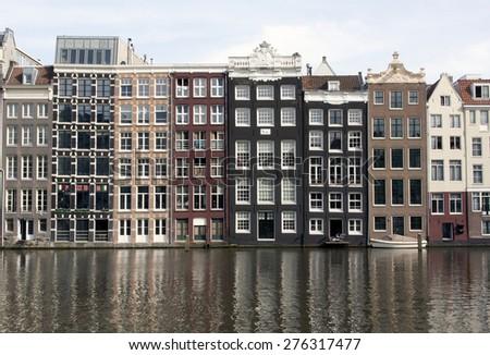Amsterdam , netherlands-may 8, 2015: View at the Rokin canal in Amsterdam netherlands - stock photo