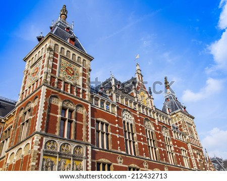Amsterdam, Netherlands, on July 10, 2014. The Central Railway station, architectural details - stock photo