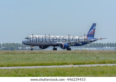 Amsterdam, Noord-Holland/Netherlands - June 13-06-2016 - Airplane Aeroflot - Russian Airlines VQ-BHM Airbus A321-200 is leaving dutch airport Schiphol. Photo taken during take off at daytime.  - stock photo